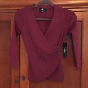 Burgundy knit crop top